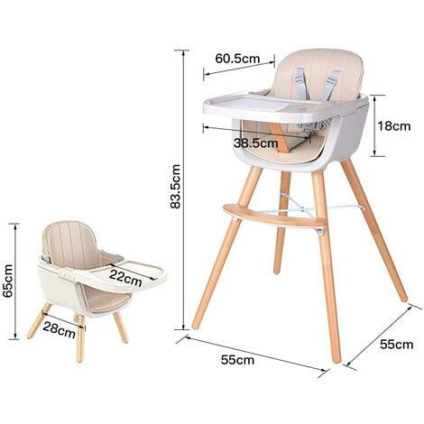 Chaise Haute pour bébé en Bois,table à mange ,champagne.