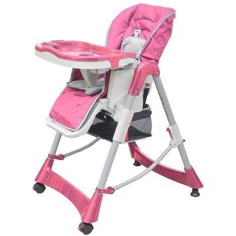 Chaise haute pour bébés Deluxe Rose Hauteur réglable