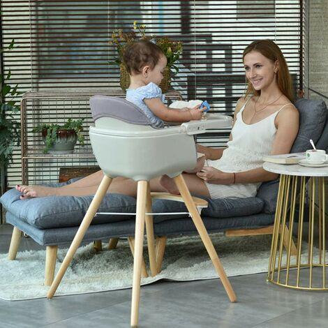 Chaise haute pour enfants en bois massif gris