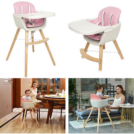 Chaise haute pour enfants en bois massif rose
