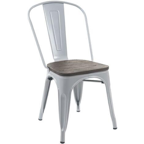Chaise HHG-893, avec siège en bois, chaise de bistro, métal, empilable, style industriel ~ noir