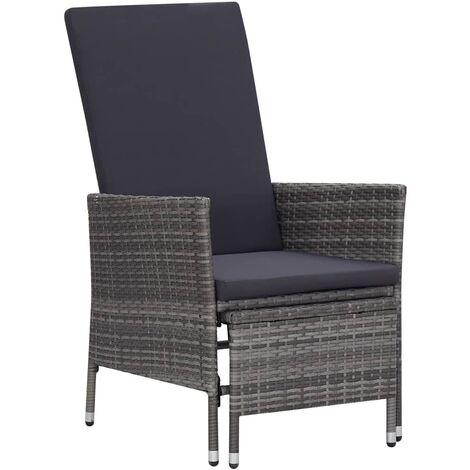 Chaise inclinable de jardin avec coussins Résine tressée Gris