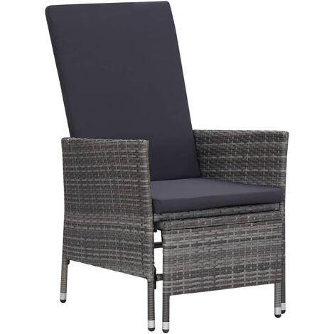 Chaise inclinable de jardin avec coussins Resine tressee Gris