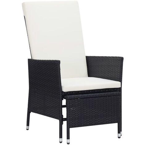 Chaise inclinable de jardin avec coussins Résine tressée Noir