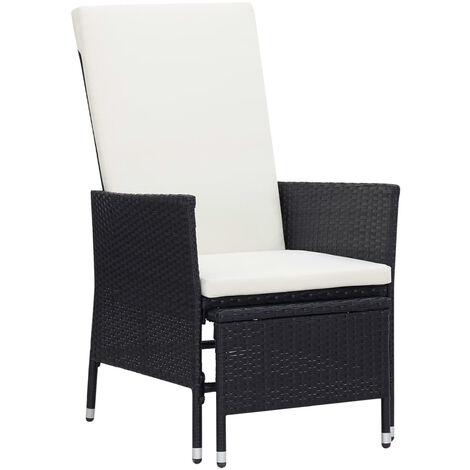 Chaise inclinable de jardin avec coussins Resine tressee Noir