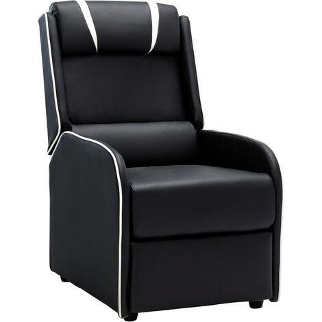 Chaise inclinable Noir et blanc Similicuir