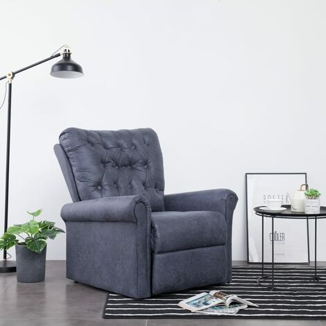 Chaise Inclinable Similicuir Daim Gris