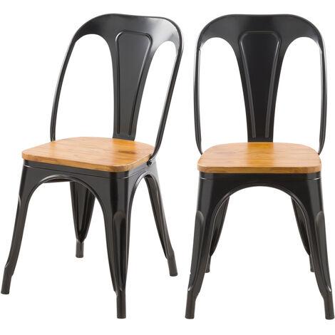Chaise indus Yoanna noire et bois clair (lot de 2) - Noir