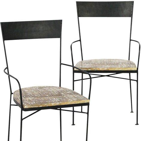 Chaise industrielle avec accoudoirs, métal et bois