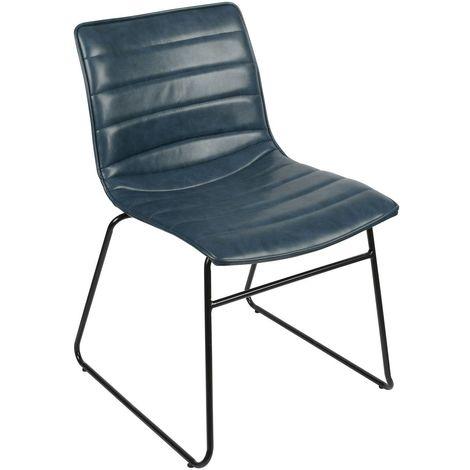 Chaise industrielle Brooklyn - Bleu - Bleu