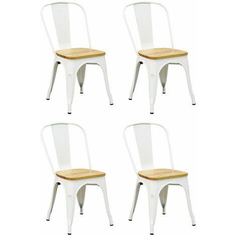 Chaise industrielle en métal et bois d'orme huilé (Lot de 4) Blanc - Blanc