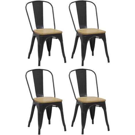 Chaise industrielle en métal et bois d'orme huilé (Lot de 4) Noir - Noir