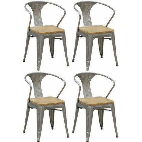 Chaise industrielle en métal et bois d'orme (Lot de 4) - Acier brossé