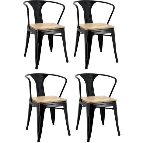Chaise industrielle en métal et bois d'orme - Noir