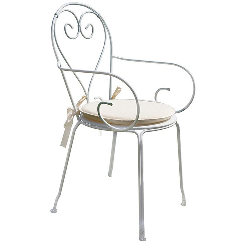 Chaise jardin en fer forgé coloris blanc. A USAGE PROFESSIONNEL- Dim : H 90 x L 51 x P 52 cm