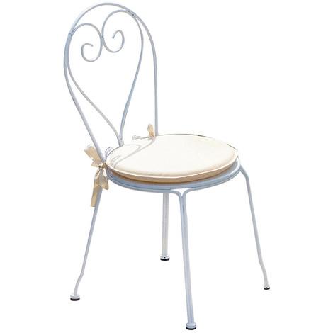 Chaise PROFESSIONNEL en blanc coloris fer 90 cmA USAGE forgé jardin x 42 52 x P DimH L Nnwm08