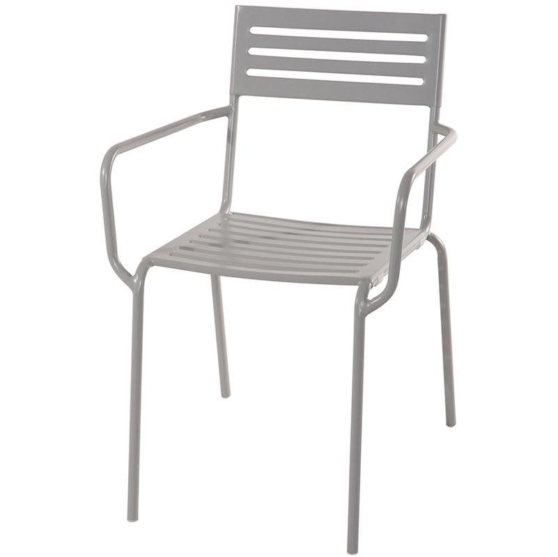 Chaise jardin en fer forgé coloris gris cendré - Dim : H 80 x L 54 x P 60 cm