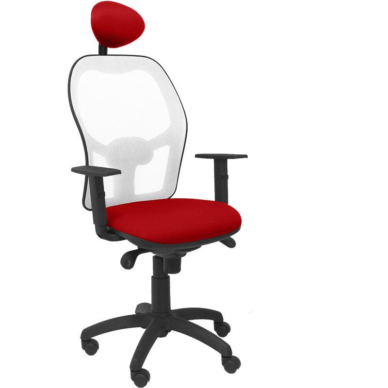 Piqueras Y Crespo - Chaise Jorquera blanc maille bali rouge siège avec appui-tête fixe