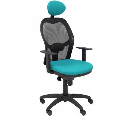 Chaise Jorquera en filet noir siège vert bali avec appui-tête fixe