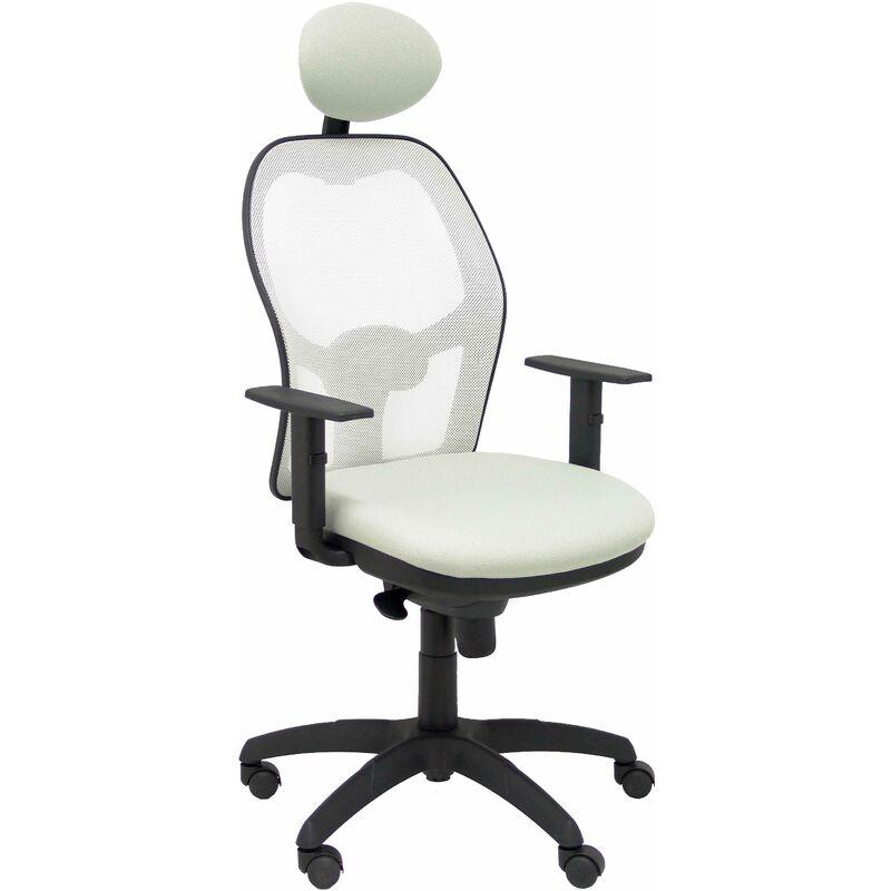 Chaise Jorquera siège en filet blanc bali gris clair avec appui-tête fixe