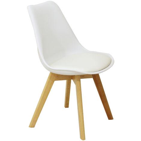 Chaise Kandem Cross Blanche de salle à manger avec pieds en bois