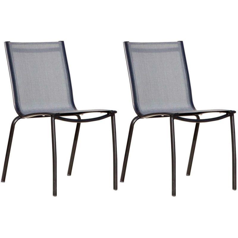 Chaise aluminium textilène Linea (Lot de 2) Noir/Argent - Noir/Argent