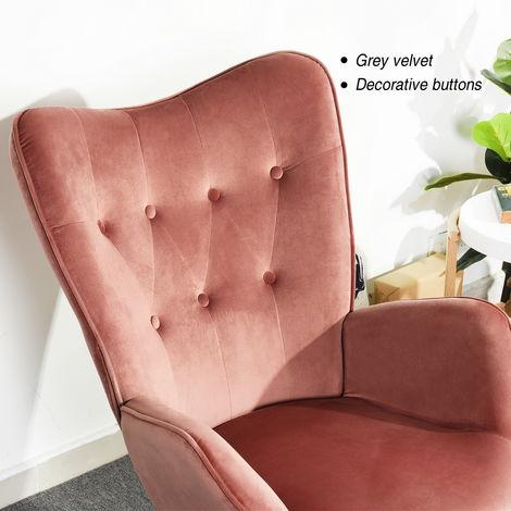 chaise loisirs en velours rose