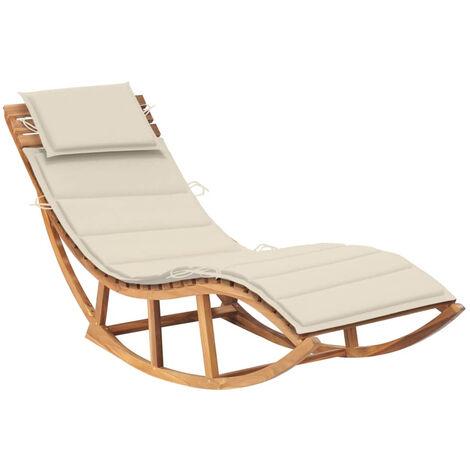 Chaise longue a bascule avec coussin Bois de teck solide
