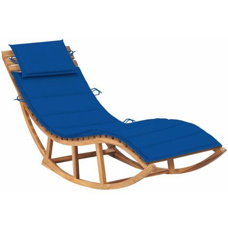 Chaise longue à bascule avec coussin Bois de teck solide4923-A