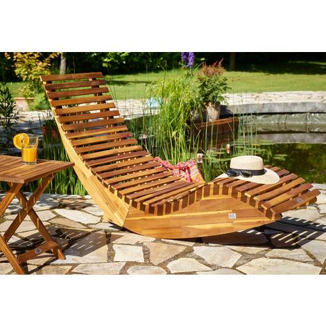 Chaise longue à bascule en bois - Transat ergonomique - Jardin/plage/terrasse