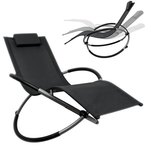 Chaise longue à bascule pliable de jardinrelax de plage anthracite à bascule de balcon de terrasse