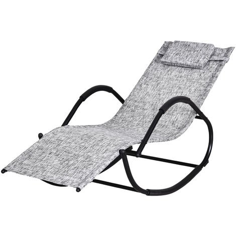 Chaise longue à bascule rocking chair design contemporain dim. 120L x 61l x 88H cm métal textilène gris chiné