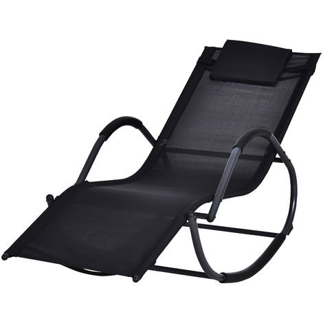 Chaise longue à bascule rocking chair design contemporain dim. 120L x 61l x 88H cm métal textilène noir