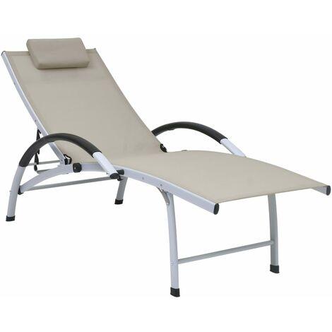 Chaise longue Aluminium textilène Crème