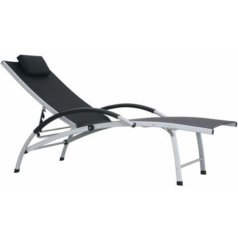 Chaise longue Aluminium Textilène Noir