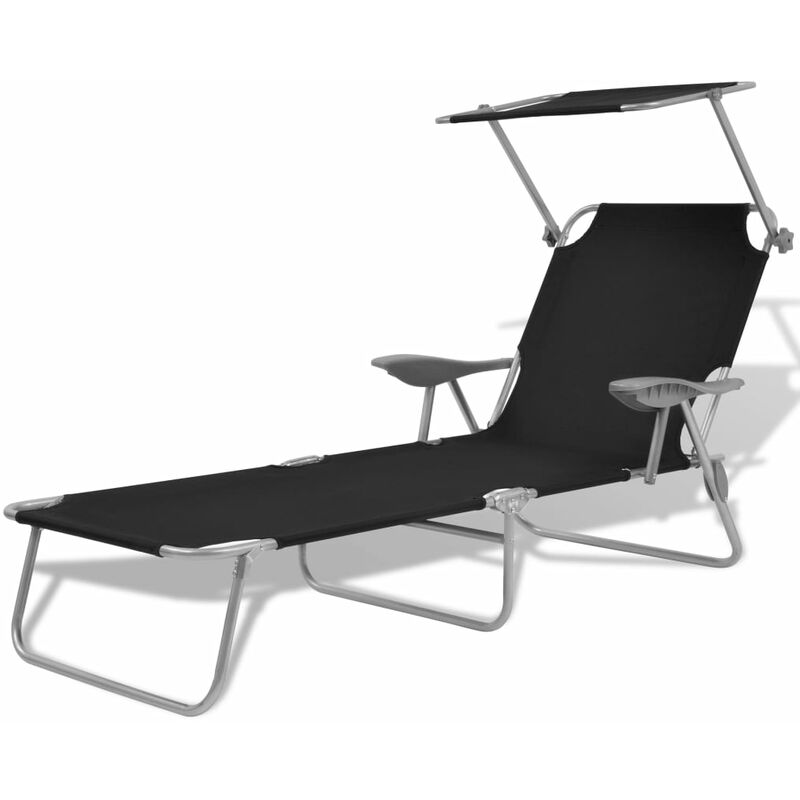 Chaise longue avec auvent Acier Noir