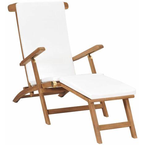 Chaise longue avec coussin Blanc crème Bois de teck solide