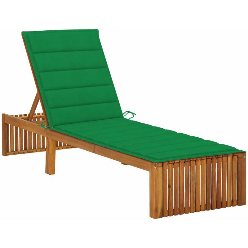 Chaise longue avec coussin Bois d'acacia solide