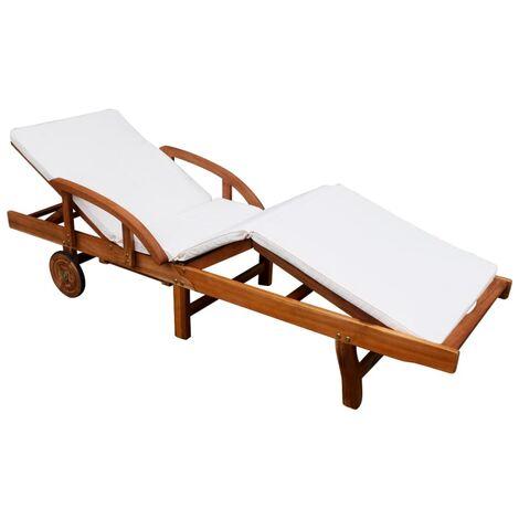 D'acacia Chaise Coussin Solide Longue 42595 Avec Bois WIYeEH2D9