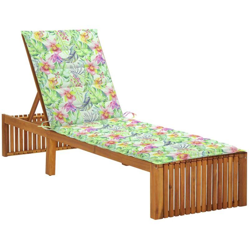 Chaise longue avec coussin Bois d'acacia solide5088-A