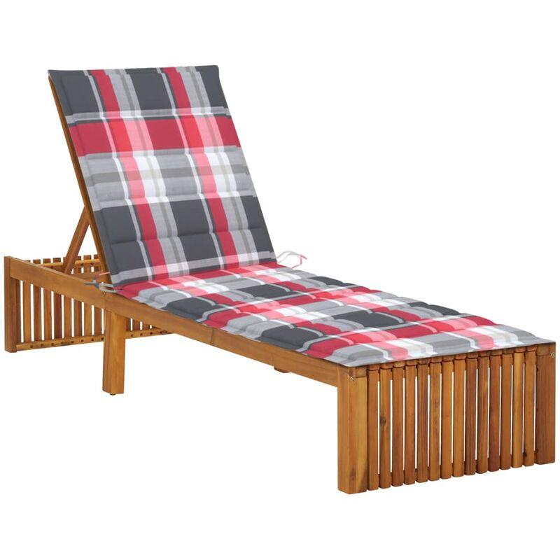 Chaise longue avec coussin Bois d'acacia solide5089-A