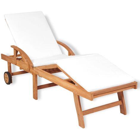 Chaise longue avec coussin Bois de teck solide