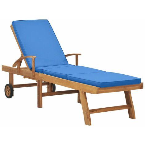 Chaise longue avec coussin Bois de teck solide Bleu
