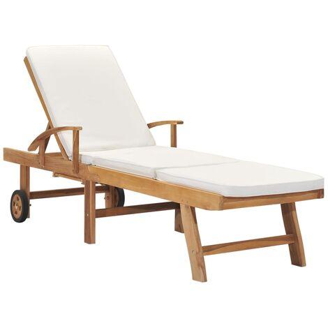 Chaise longue avec coussin Bois de teck solide Crème
