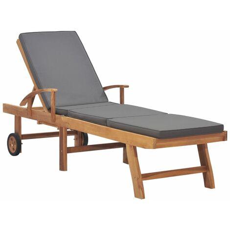 Chaise longue avec coussin Bois de teck solide Gris foncé