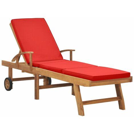 Chaise longue avec coussin Bois de teck solide Rouge