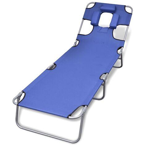 Chaise longue avec coussin de tête Acier enduit de poudre Bleu