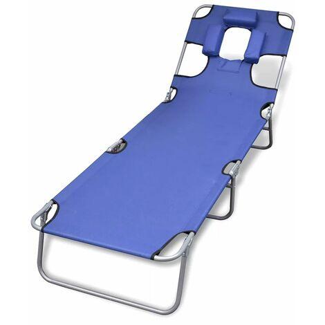 Chaise longue avec coussin de tete Acier enduit de poudre Bleu