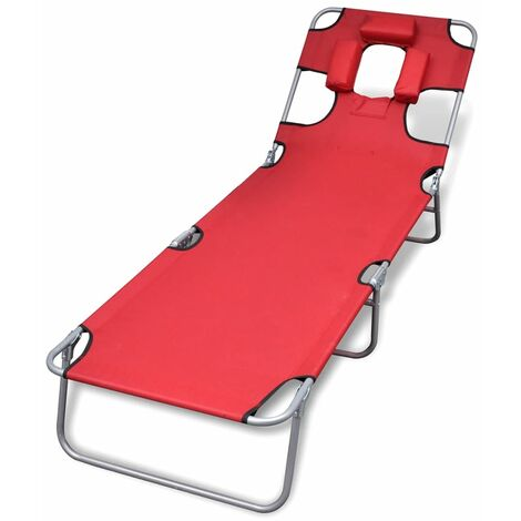 Chaise longue avec coussin de tête Acier enduit de poudre Rouge