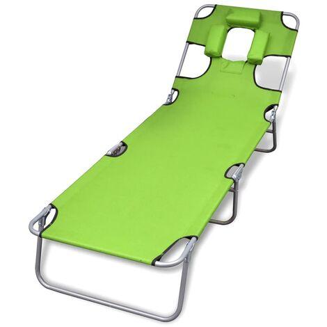 Chaise longue avec coussin de tête Acier enduit de poudre Vert
